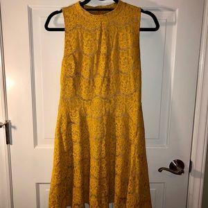 Gold Floral Lace Dress